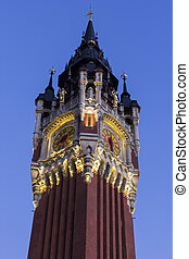Belfry of the Town Hall at Place du Soldat Inconnu in Calais