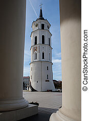 Belfry of Vilnius Cathedral, one of the main landmarks of...