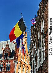 belg, bandery, bruges, europejczyk