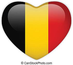 belgia bandera, serce, połyskujący, guzik