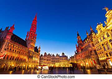 belgia, europe., brukselski, markt, grote