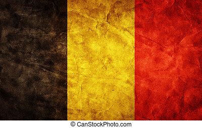 belgia, grunge, flag., pozycja, z, mój, rocznik wina, retro, bandery, zbiór