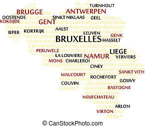 belgia, słowo, chmura, mapa