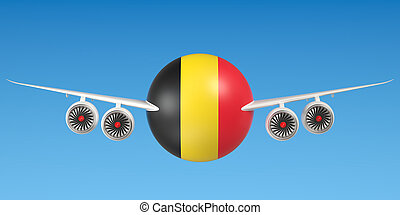 Belgian airlines and flying's concept. 3D rendering