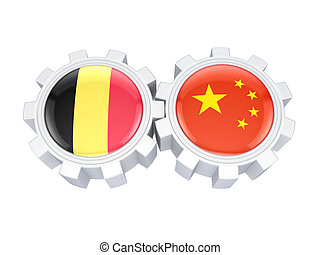 Belgian and chinese flags on a gears.