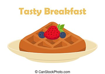 Belgian, chinese waffle - chocolate, cream and berries. Cartoon flat style