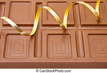 Belgian chocolate and ribbons - Background of fine Belgian...