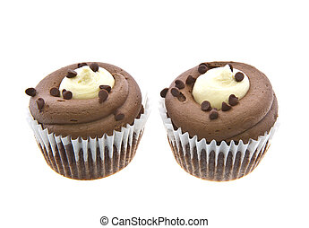 Belgian Chocolate Cupcakes over white background