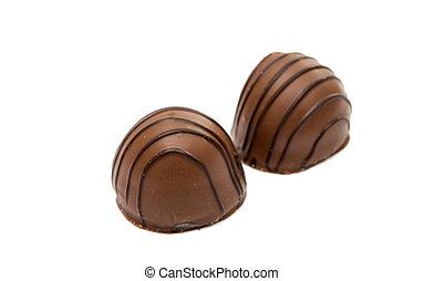 Belgian chocolates on a white background