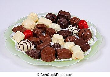 Belgian chocolates. - Selection of Belgian chocolates on a...