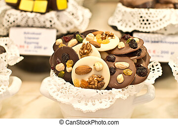 Belgian chocolates with nuts - Variety of belgian chocolates...