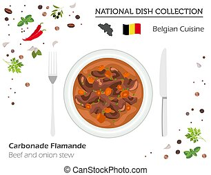 Belgian Cuisine. European national dish collection. Beef and onion stew isolated on white infographic