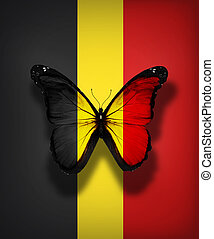 Belgian flag butterfly, isolated on flag background