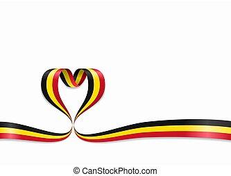 Belgian flag heart-shaped ribbon. Vector illustration. -...
