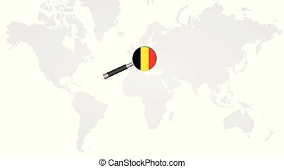 Belgian flag in magnifying glass