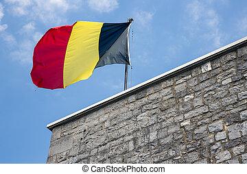 Belgian flag in top of citadel Dinant