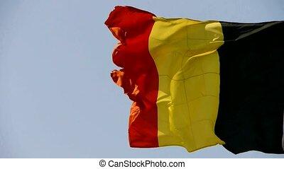Belgian flag is fluttering in wind.
