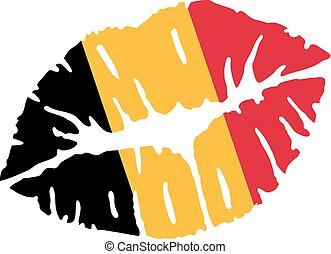 Belgian flag kiss