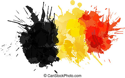 Belgian flag made of colorful splashes