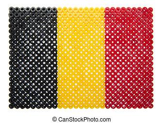 Belgian Flag made of plastic pearls