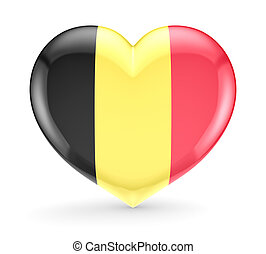 Belgian flag on a heart symbol. Isolated on white background.3d rendered.