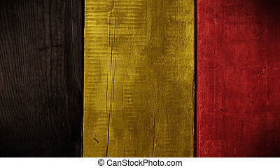 Belgian flag on wood