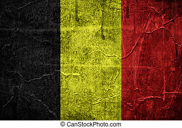 Belgian flag overlaid with grunge texture