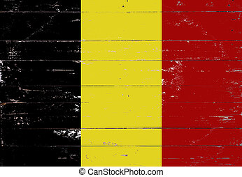 Belgian flag painted on a wooden board