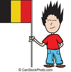 Proud young male holding the belgian flag
