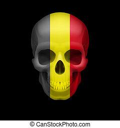 Belgian flag skull - Human skull with flag of Belgium. ...
