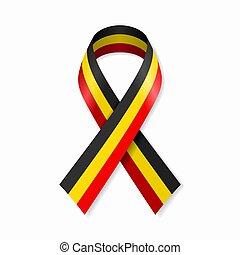 Belgian flag stripe ribbon on white background. Vector ...