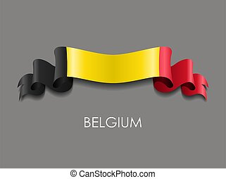 Belgian flag wavy ribbon background. Vector illustration. - ...