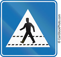 Belgian informational road sign - Pedestrian crossing.