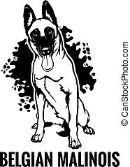 Belgian Malinois - Dog Set Happy Face Paw Puppy Pup Pet Clip Art K-9 Cop Police Logo SVG PNG Clipart Vector Cricut Cut Cutting - vector illustration for t-shirt, logo and template badges in monochrome style