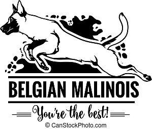 Belgian Malinois in jump - Dog Set Happy Face Paw Puppy Pup Pet Clip Art K-9 Cop Police Logo SVG PNG Clipart Vector Cricut Cut Cutting - vector illustration for t-shirt, logo and template badges in monochrome style