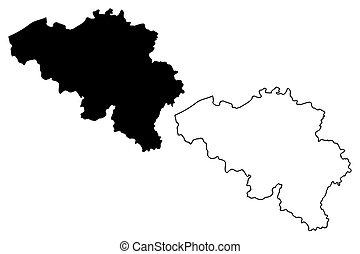 Belgian map vector