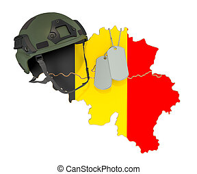Belgian military force, army or war concept. 3D rendering isolated on white background