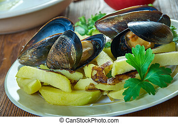 Belgian Moules frites - Moules frites, mussels are steamed ...