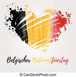 Holiday background for Belgian national day. Painted flag in heart shape. German text.