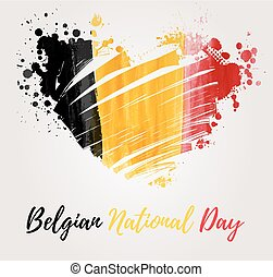 Holiday background for Belgian national day. Painted flag in heart shape.