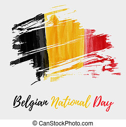 Holiday background for Belgian national day. Painted grunge watercolor flag