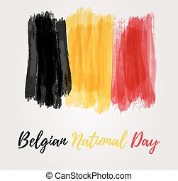 Holiday background for Belgian national day. Painted watercolor flag