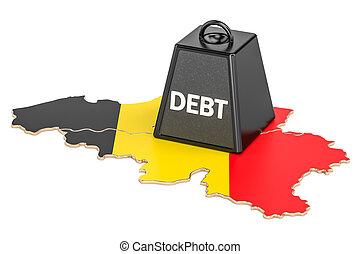 Belgian national debt or budget deficit, financial crisis concept, 3D rendering