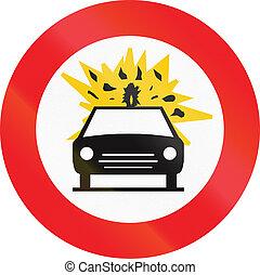 Belgian regulatory road sign - No vehicles carrying explosive goods