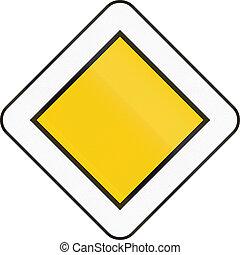 Belgian regulatory road sign - Priority road.