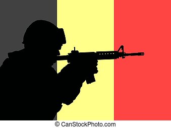 Belgian soldier 2 - Silhouette of a Belgian soldier with the...