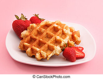 belgian waffle and strawberries - Belgian waffles and...