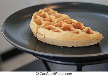 belgian waffle bakery for breakfast on buffet line
