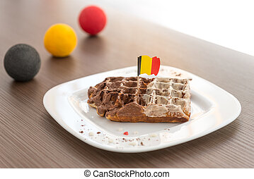 Belgian waffle - Belgian flag on the top of the waffle with...