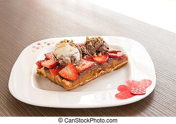 Belgian Waffle - Belgian waffle with ice cream and...